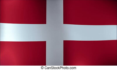 Flag of Denmark waving in the wind. Seamless loop with high quality fabric material.
