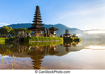 Pura Ulun Danu Bratan at sunrise, famous temple on the lake,...