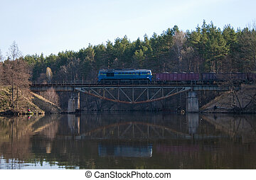 Freight diesel train - Freight train passing through the...