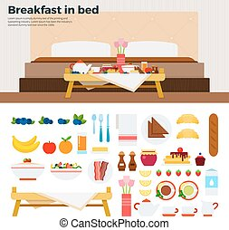 Little table with breakfast near the bed