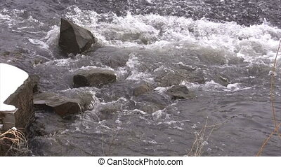 Wild water flowing - Scenic view of river wild water flowing...