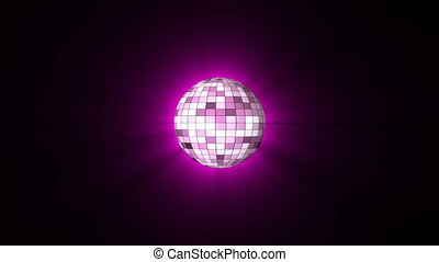 Disco Ball violet color and shine. Looping