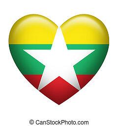 Myanmar Insignia Heart Shape - Heart shape of Myanmar...
