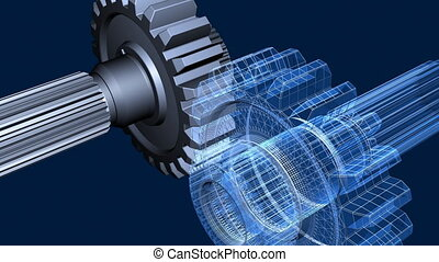 Gears - Close-up of rotating gears