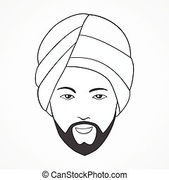 Indian man wearing a turban - Line art illustration of an...