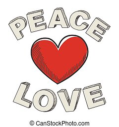 Peace and Love - Hand writing of peace and love text design...