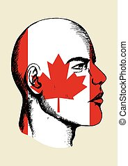 Canada Insignia - Sketch illustration of a face with Canada...