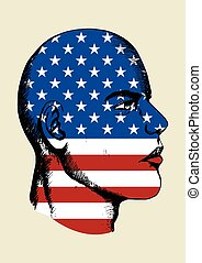 USA insignia - Sketch illustration of a face with USA...