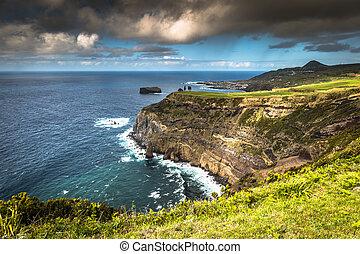 Green island in the Atlantic Ocean, Sao Miguel, Azores,...