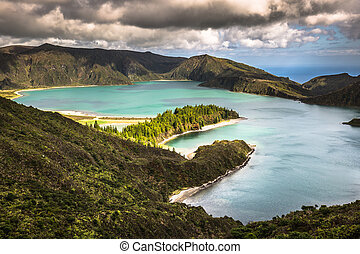 Lagoa do Fogo, a volcanic lake in Sao Miguel, Azores