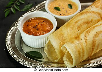 Dosa with chutney, south Indian breakfast