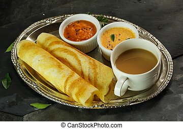 Dosa with Sambar and chutney, south Indian breakfast