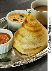 Dosa with Sambar and chutney, south Indian breakfast - Cone...