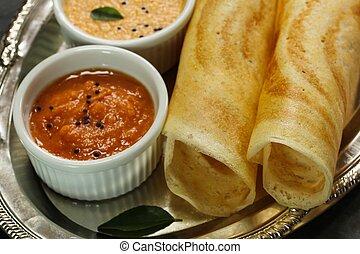 Masala Dosa with chutney, south Indian breakfast