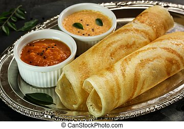 Masala Dosa with chutney, south Indian breakfast