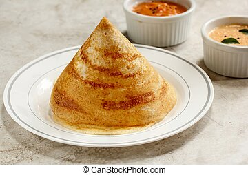 Dosa with chutney, south Indian breakfast - Cone shape Dosa...