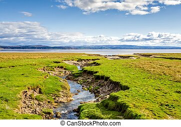 Coastline near Grange-over-sands, Cumbria, England -...