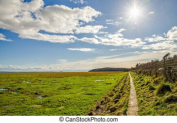 Fields along coast, Grange-over-sands, Cumbria, England -...