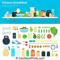 Healthy and nutritious breakfast - Fitness breakfast vector...
