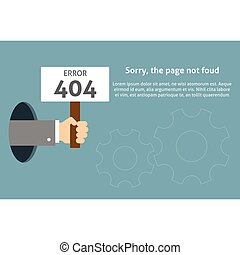 Hand holding sign with error message. Page not found