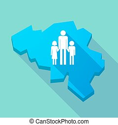Long shadow map of Belgium with a male single parent family pictogram
