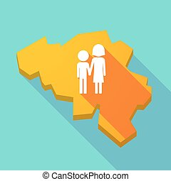 Long shadow map of Belgium with a childhood pictogram -...