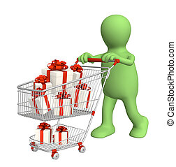 Consumer with shopping cart and gifts Over white