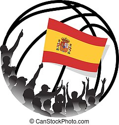 Spanish Basketball Fans Waving national flag
