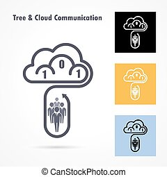 Tree and cloud logo vector design template. Computer and data transfer symbol.