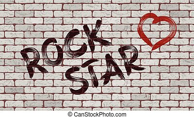 Inscription rock star on the wall