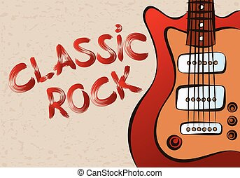 Inscription classic rock on grunge background patterned...