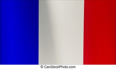 France Flag - looping, waving, A beautiful finish looping flag animation of France. Fully digital rendering using the official flag design