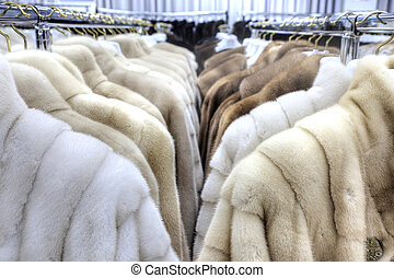 Salon on the sale of fur fur coats - Showroom coats with fur...