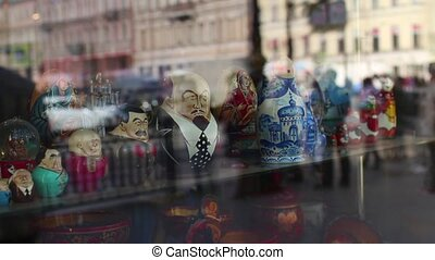 Anonymous crowd reflection in a shop window time lapse