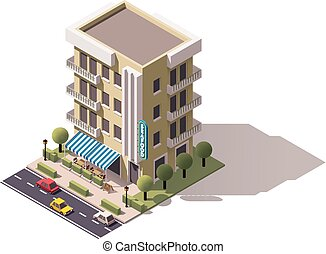 Vector isometric restaurant building - Isometric icon...