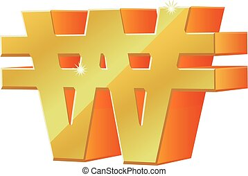 3D Korean won vector icon - Vector illustration of gold 3D...