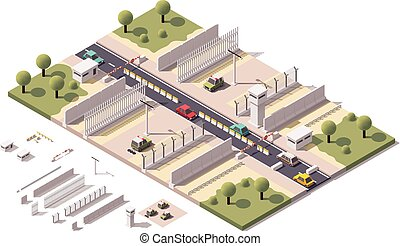 Vector isometric border checkpoint - Isometric illustration...