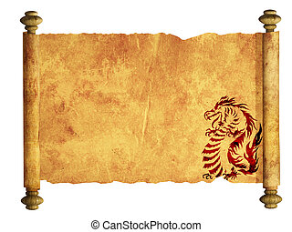 Sheet of ancient parchment with the image of dragons