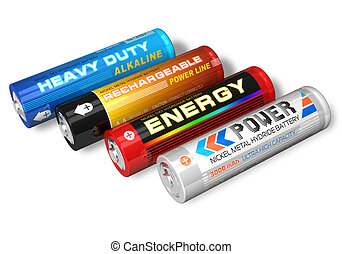 Set of four different AA batteries - Set of four different...