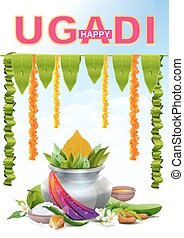 Happy Ugadi Template greeting card for holiday Ugadi Silver...