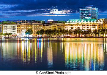 Night view of Hamburg, Germany - Scenic summer night view of...
