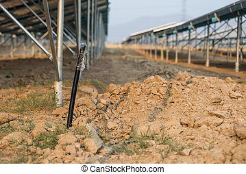 The underground electrical cable in the solar farm plant...