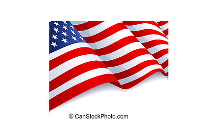 USA flag - Vector illustration - USA flag in white...