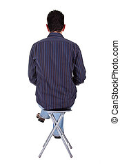 man sitting on a bench in back, isolated on a white...