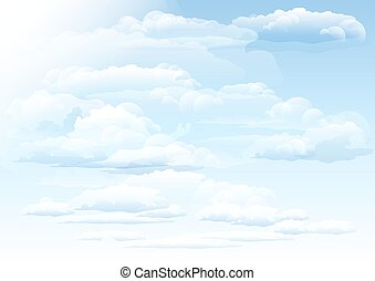 White clouds sky background. Illustration in vector format