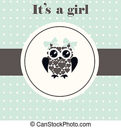 baby owl  - vector baby shower card with owl