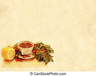 Herbal tea - Grunge background with a cup herbal tea
