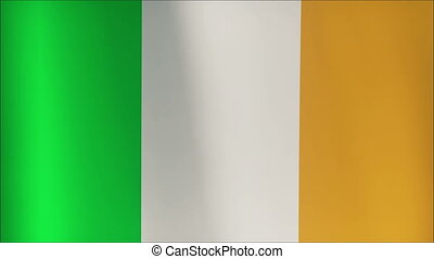 Seamless looping high definition video closeup of the Irish flag, 4K