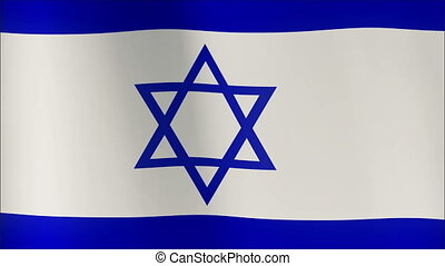 Realistic 3d seamless looping Israel flag waving in the wind...