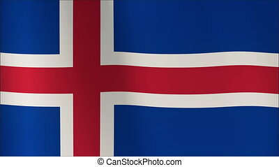 Iceland Flag waving in the wind in sun rise, Close up of the...